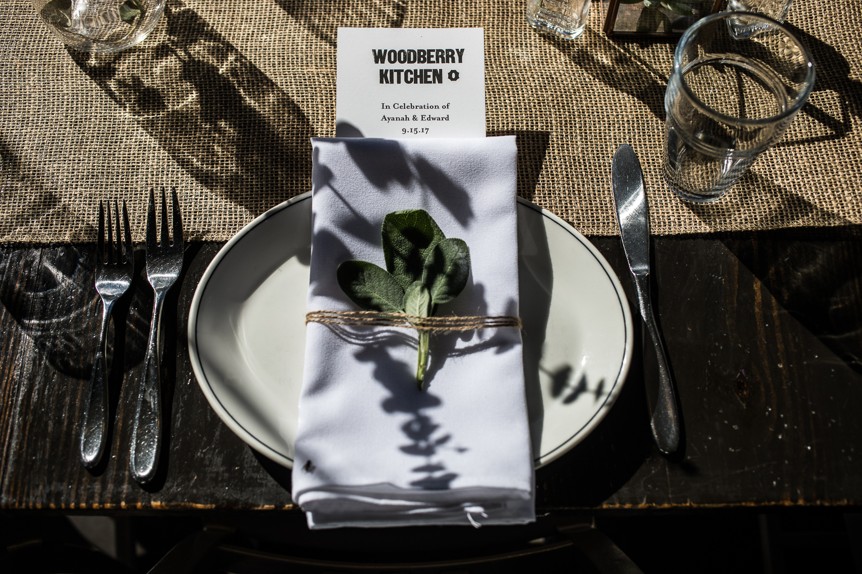 Wedding table setting at Woodberry Kitchen Baltimore
