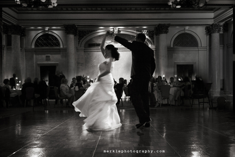 First dance at wedding reception at the Baltimore Grand Venue with groom spinning the bride