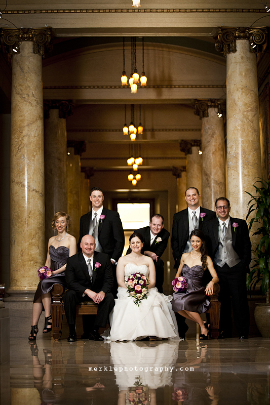 Wedding party posing for formals in a hallway of the Baltimore Grand Venue