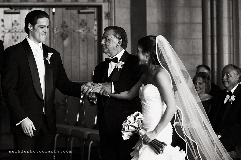 Father of the bride joining his daughter and her groom to be at Grand Baltimore Venue wedding