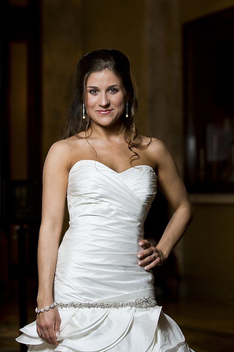 Bride posing for a portrait in a mermaid dress before her wedding at the Baltimore Grand Venue