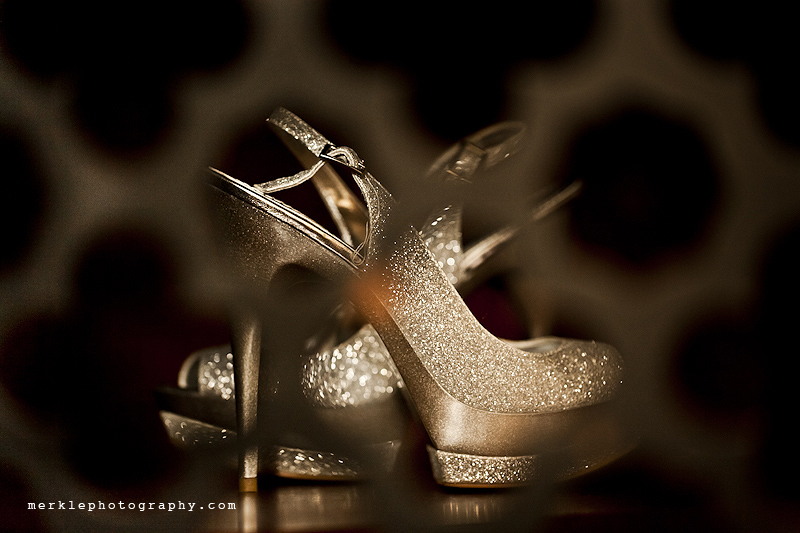 Sparkling gold shoes for a wedding