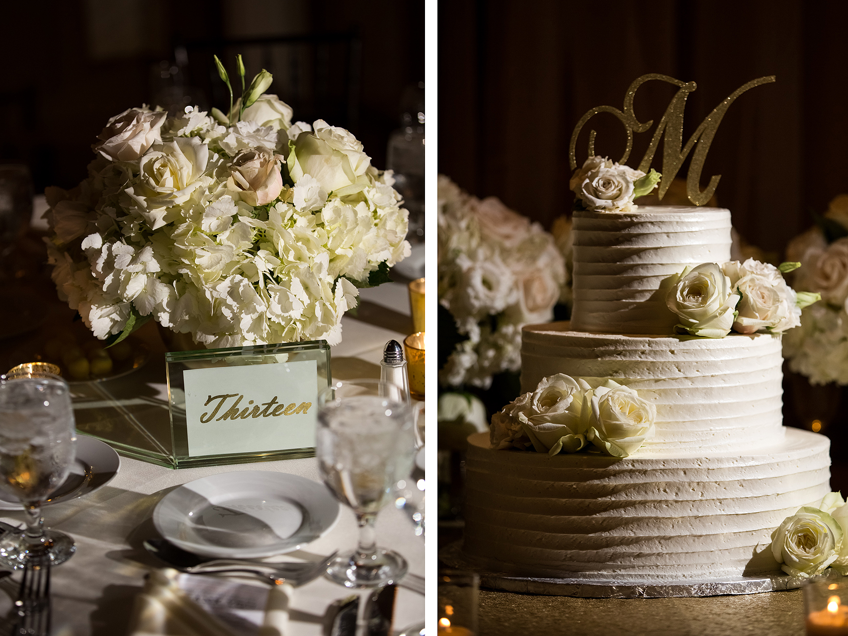Wedding floral arrangement and cake with gold accents at the Baltimore Belvedere Hotel