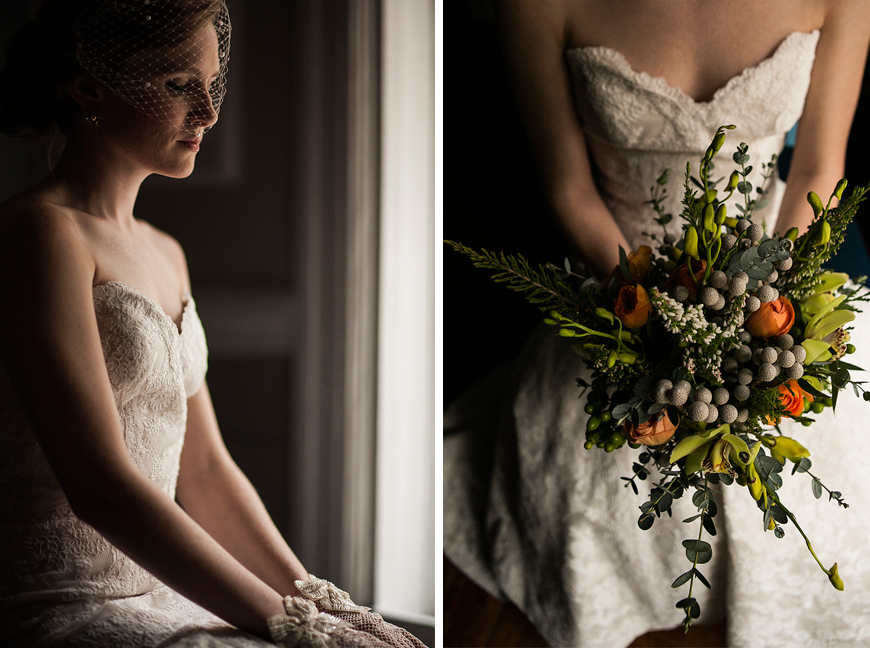 Bride posing in window light with unusual bouquet at Belvedere Hotel wedding in Baltimore