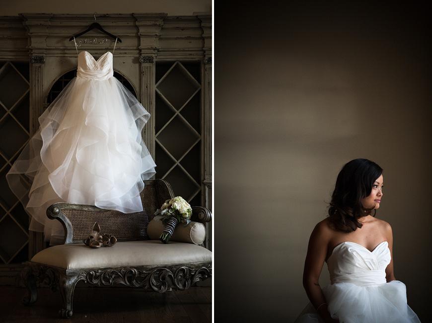 Wedding dress and bride in beautiful natural light at Morais Vineyards