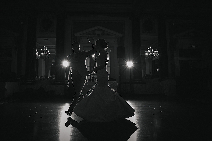 First dance silhouette at a Belvedere Hotel wedding in Baltimore