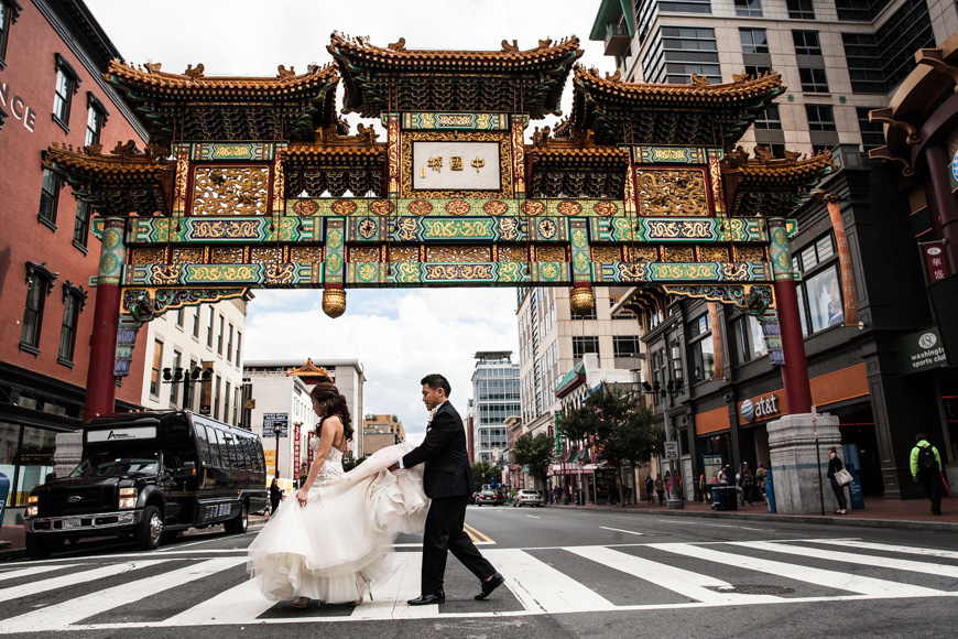 Bride and groom crossing the street in Chinatown, Washington DC