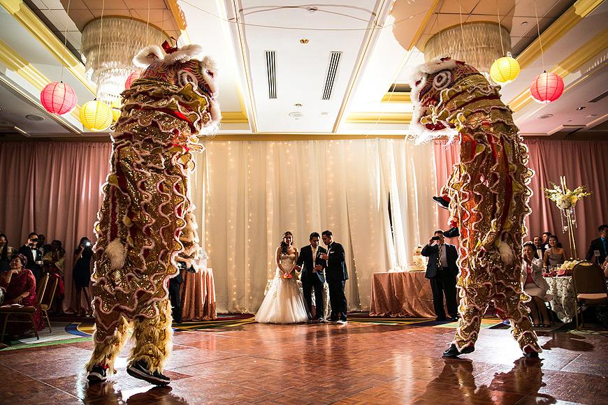 Chinese Lion Dancers at Washington DC wedding