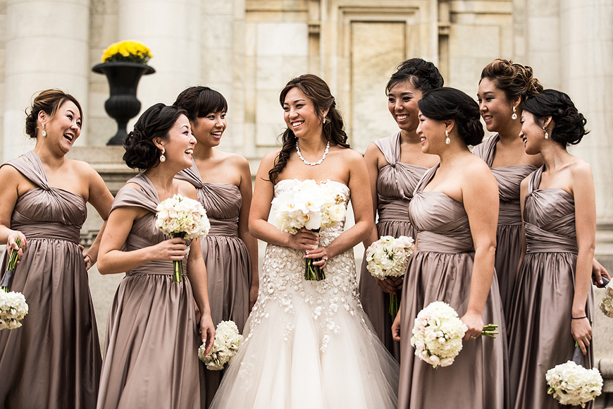 Bridal party atop steps in Washington DC, photo by one of the best wedding photographers