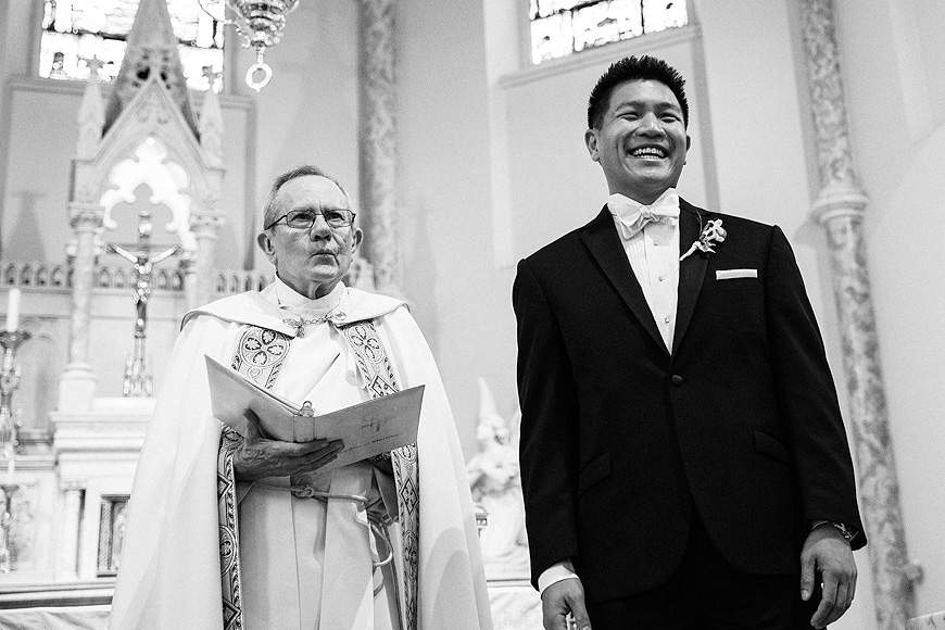 Groom catches the first glimpse of his bride on their wedding day in Washington DC