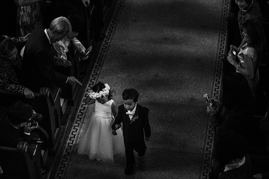 Flower girl and ring bearer walk down the aisle at a Washington DC wedding