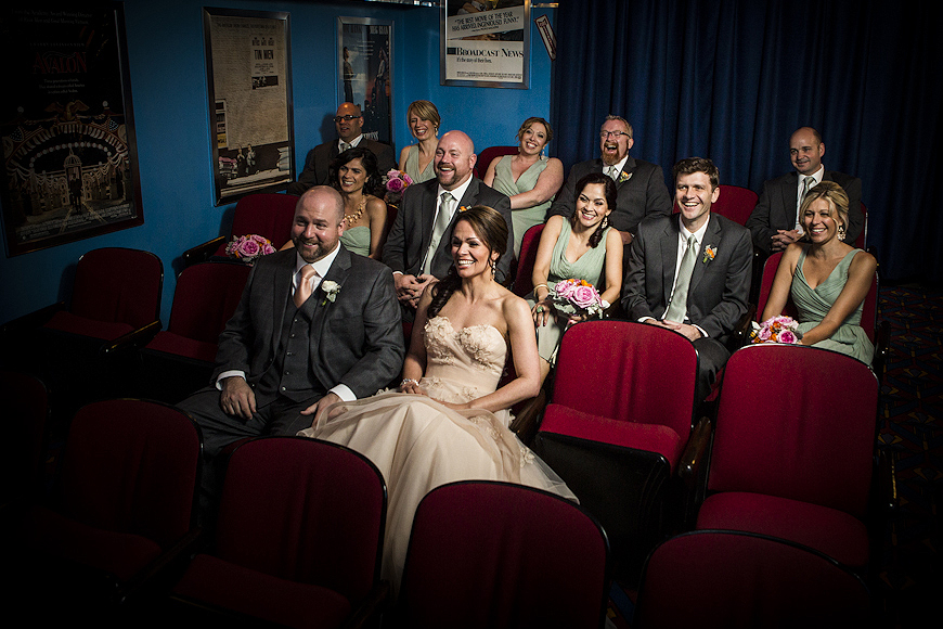 Wedding party watch a movie at the Baltimore Museum of Industry