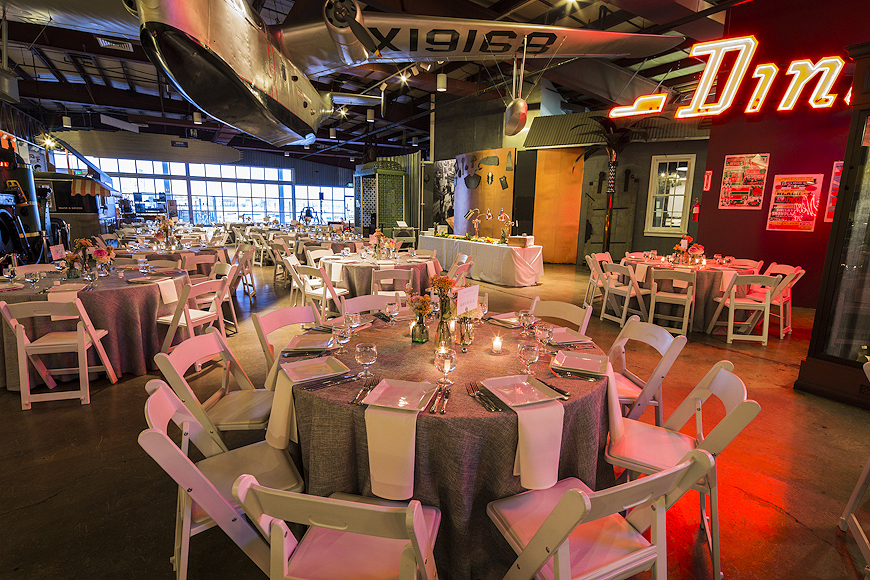 Wedding reception decor at a Baltimore Museum of Industry wedding