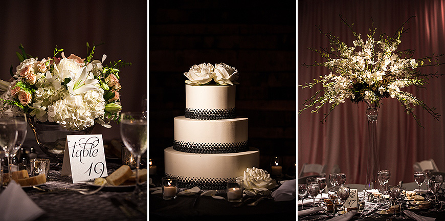 Wedding cake and floral arrangements, American Visionary Arts Museum
