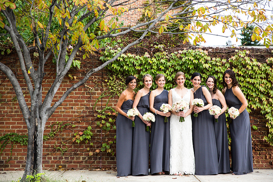 Bridal Wedding Party outside on a fall day at the American Visionary Arts Museum in Baltimore Maryland
