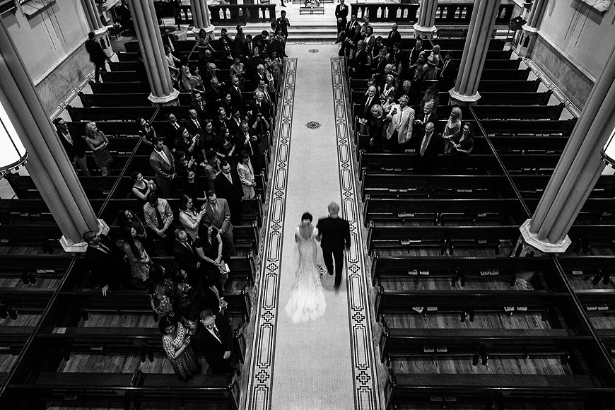 Bride enters the historic St. Mary's Church in Annapolis Maryland