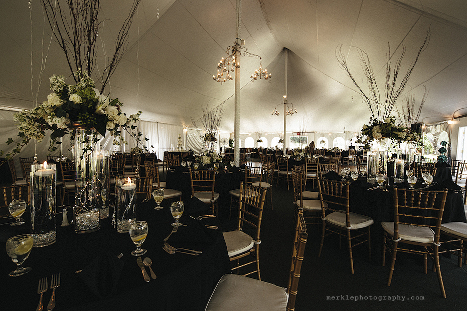 Wedding reception decorations at Stone Manor Country Club in Maryland