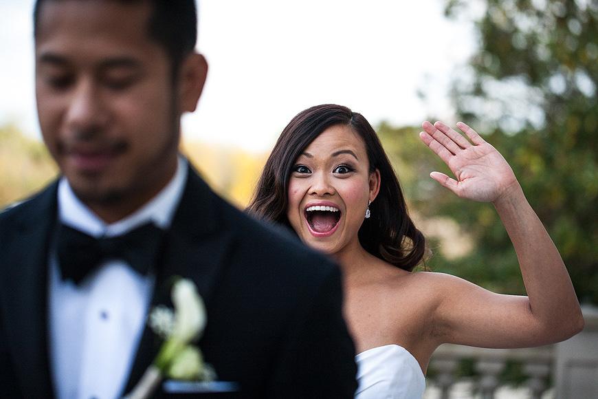 First look between bride and groom at Morais Vineyards wedding