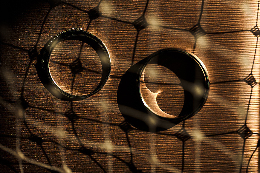 Wedding rings overlayed with interesting shadow