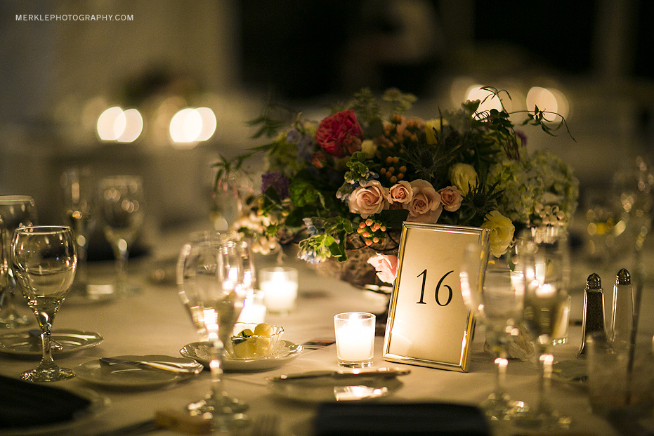 Floral arrangements at Greenville Country Club wedding