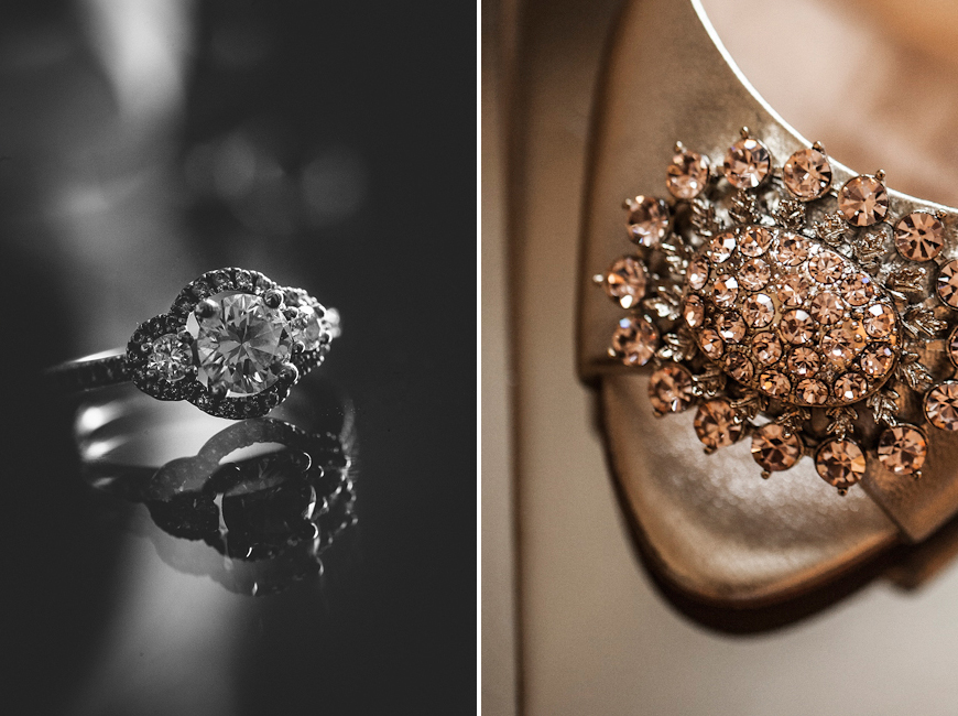 Sparkling engagement ring and wedding shoes at BMI wedding Baltimore