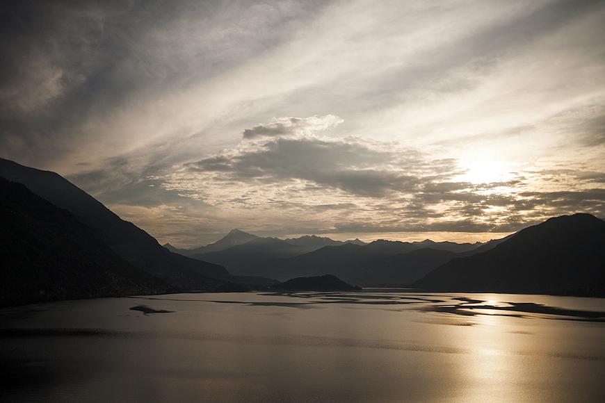 Sun setting along Lake Como Italy