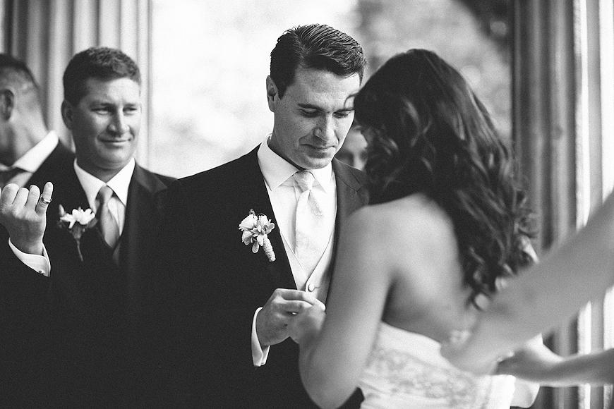 Exchanging rings at Lake Como Italy wedding