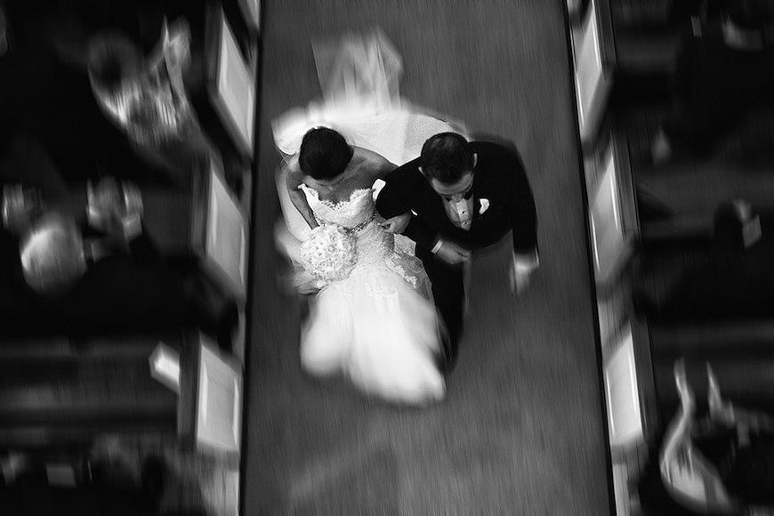 Bride and groom walk down aisle in Philadelphia Pennsylvania
