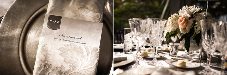 Wedding details at Historic Londontown in Annapolis