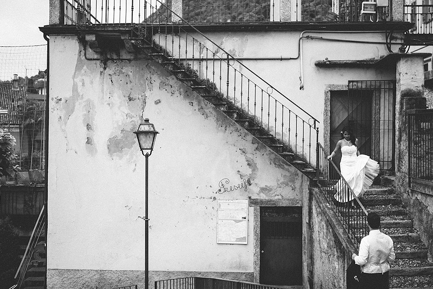 Bride and groom in Lake Como Italy