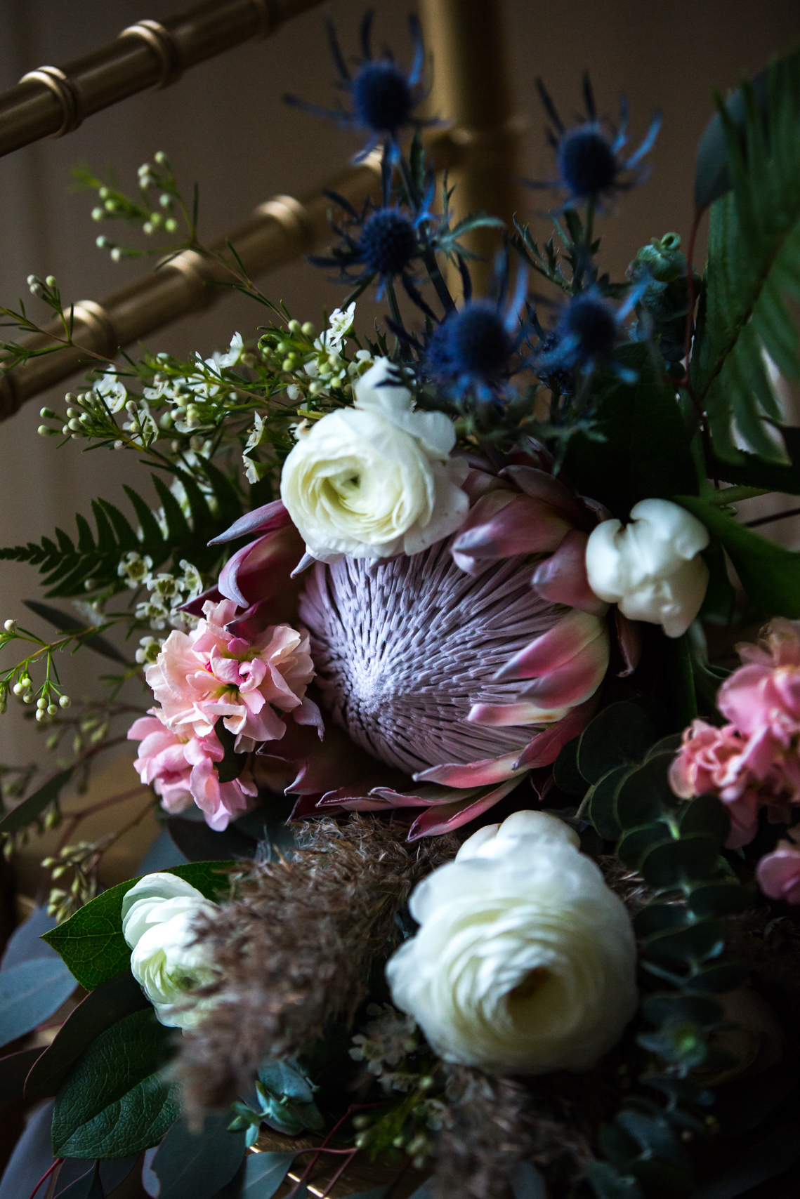 Wedding floral arrangement in natural light at the Cylburn Arboretum in Baltimore Maryland
