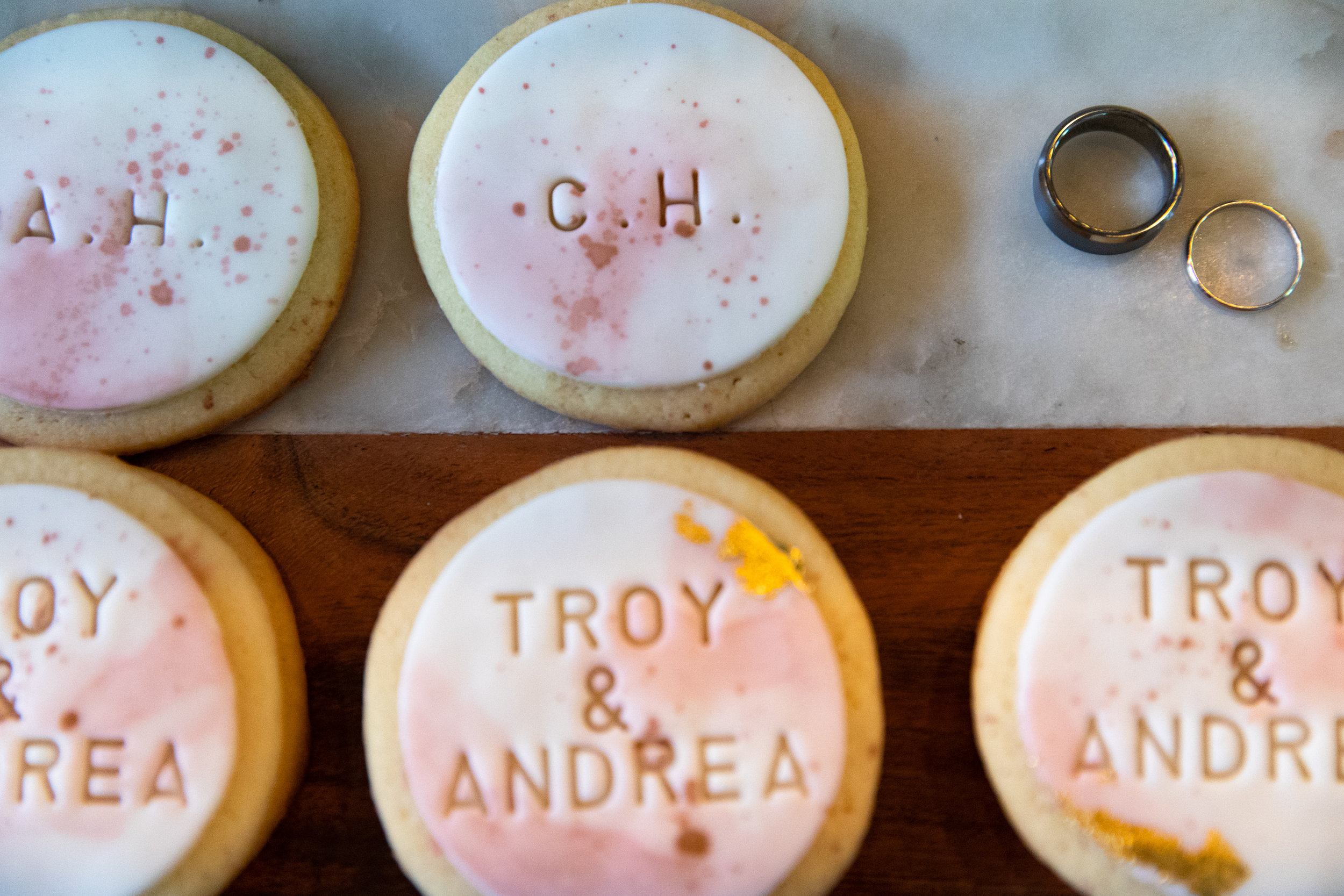 Wedding cookies and wedding rings