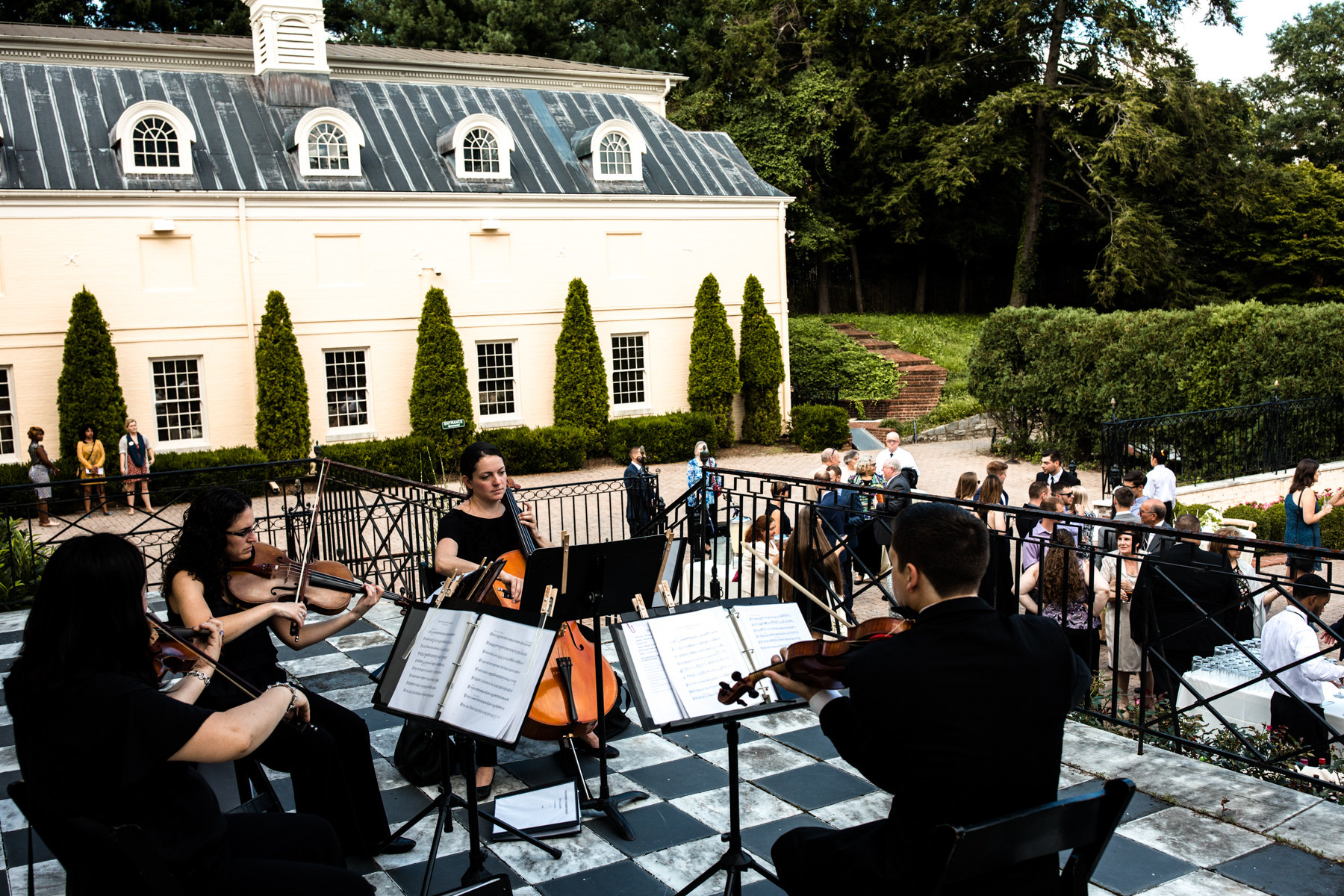 String ensemble playing at wedding at Evergreen Museum, Baltimore Maryland