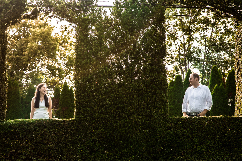 Couple in front of boxwood, Ladew Gardens Engagement Session