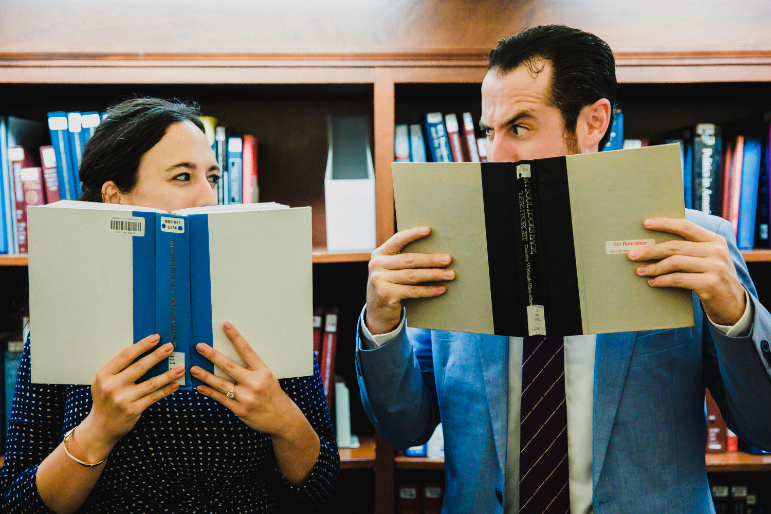 Couple holding books, Library of Congress Engagement Session
