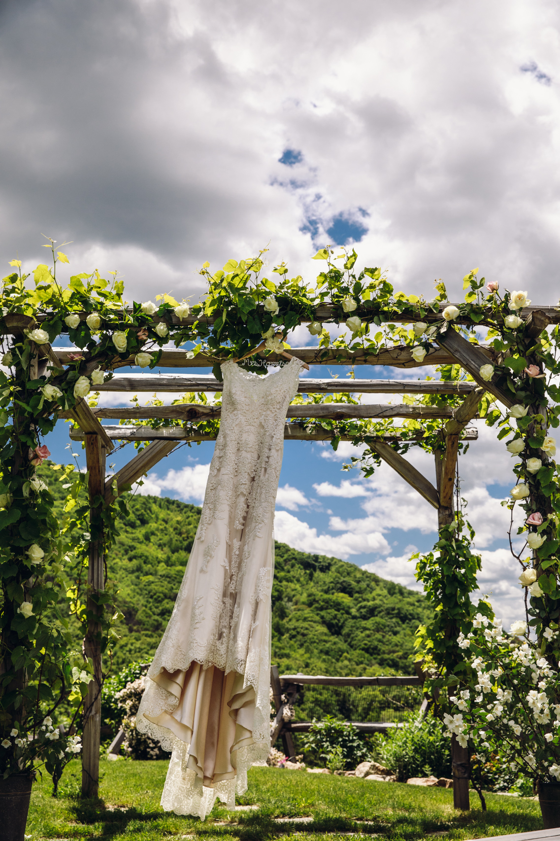 Wedding dress hanging from an arbor