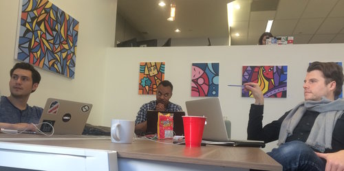 View from our HQ at Opodz in Little Tokyo : (Left to Right) David Gutierrez, Johnnie Raines, James LaGrappe