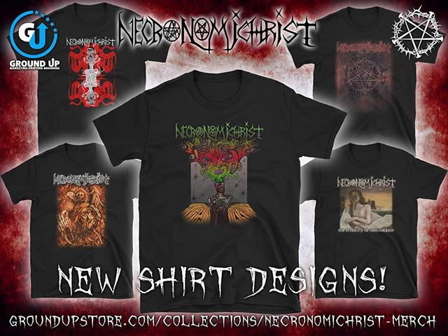 We are pleased to announce a line of awesome new Necronomichrist shirt designs now available online through Ground Up Marketing. Click the link in our bio to get yours today!  @groundupmarketing @lennypattersonart #Necronomichrist #merch #tshirts #new #extrememetal #progressive #undergroundmetal
