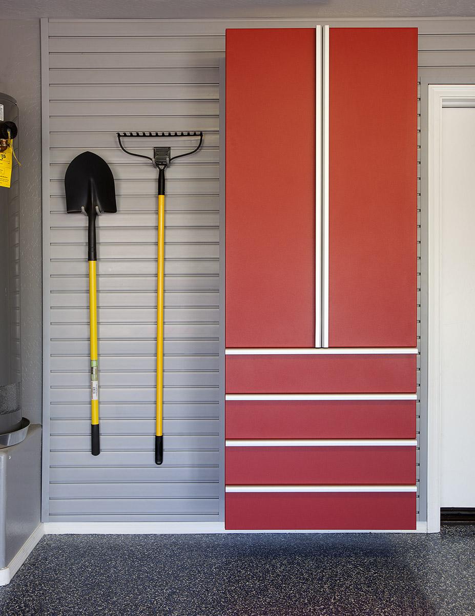 Red Cabinet w Drawers-Shovel-Rake on Grey Slatwall-Aug 2013.jpg