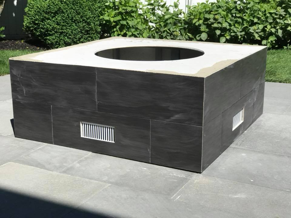 Edgartown Gas/Propane Fire Pit built with Tile and Blue Stone