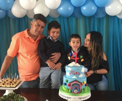 Adevalde with his wife Rita and two sons.