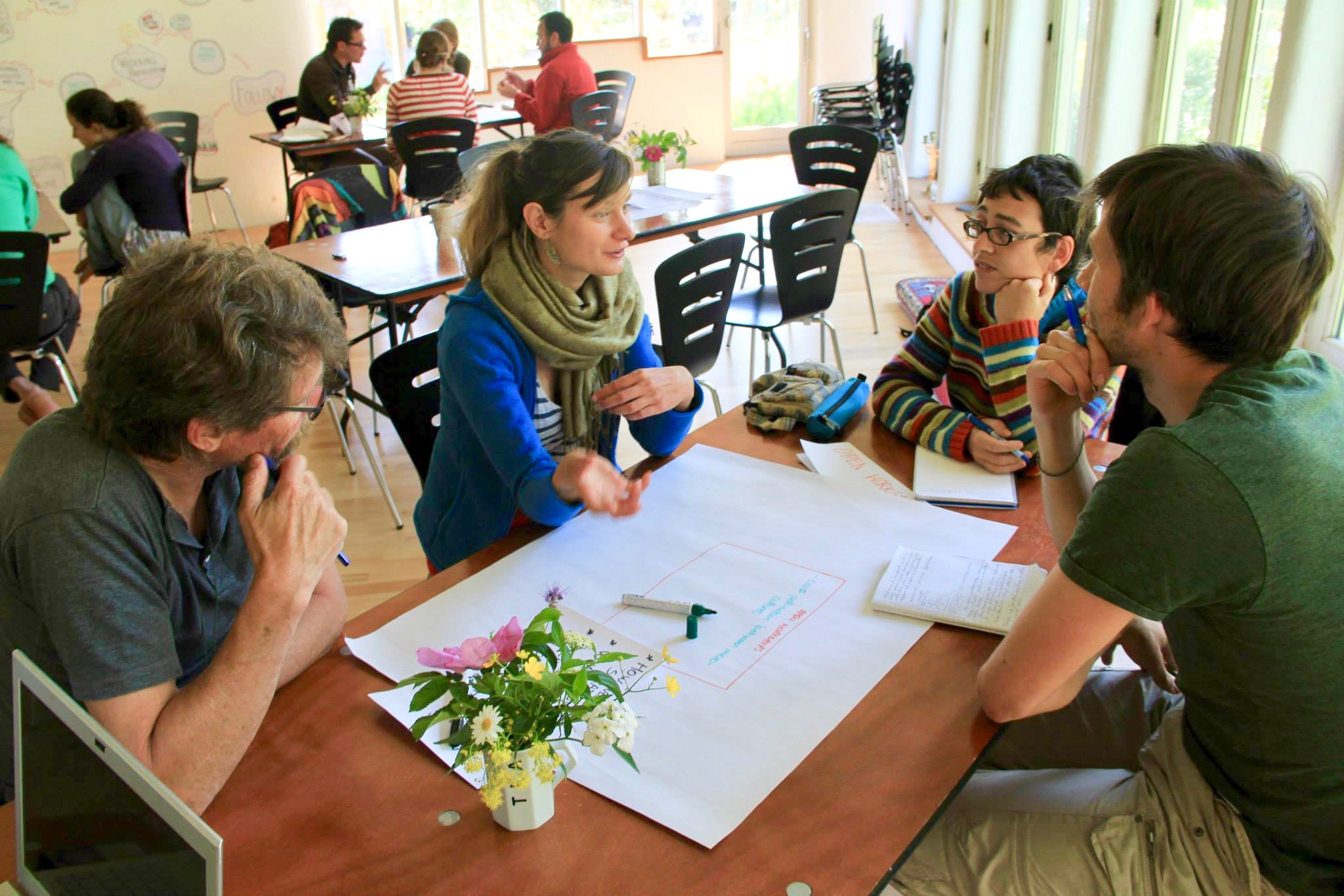 World Cafe session on Permaculture Education Accessibility at the European Permaculture Teachers' Partnership, Friland, Denmark