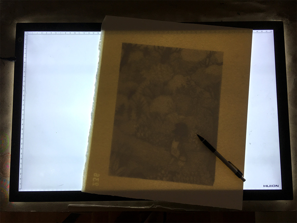 Super thin LED light tables. Wow. Game changers. The paper here is Arches 300lb, and I can still see my sketch through it, even in the daytime. I have a small travel light table as well, because I really can't live without one.