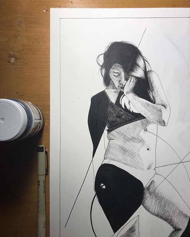Black and white in progress - micron pens and black cat ink - - - - #artist #womanartist #drawing #pendrawing #illustration #figuredrawing #ink #figure #wip
