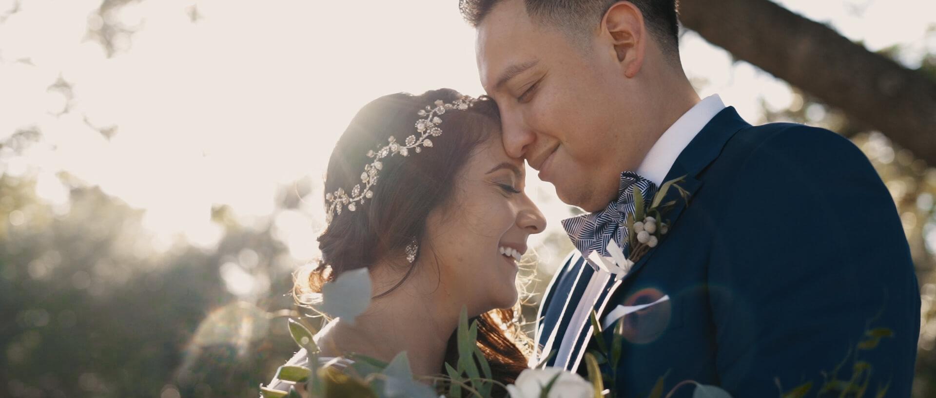 Bride and Groom in Sunlight