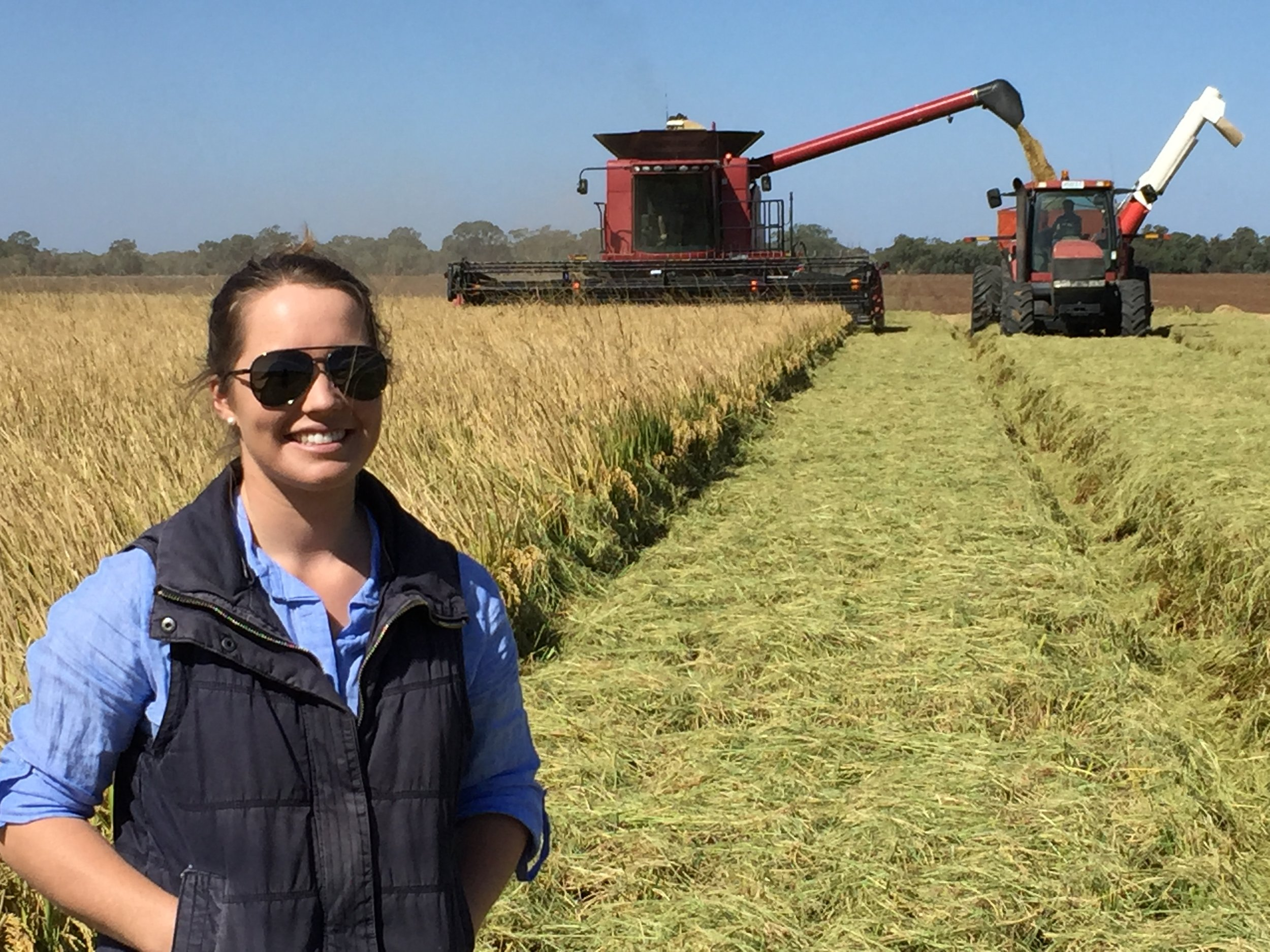 Kimberley Beer, SRP team member from Murray Local Land Services during harvest on the Sutherlands Coleambally property.