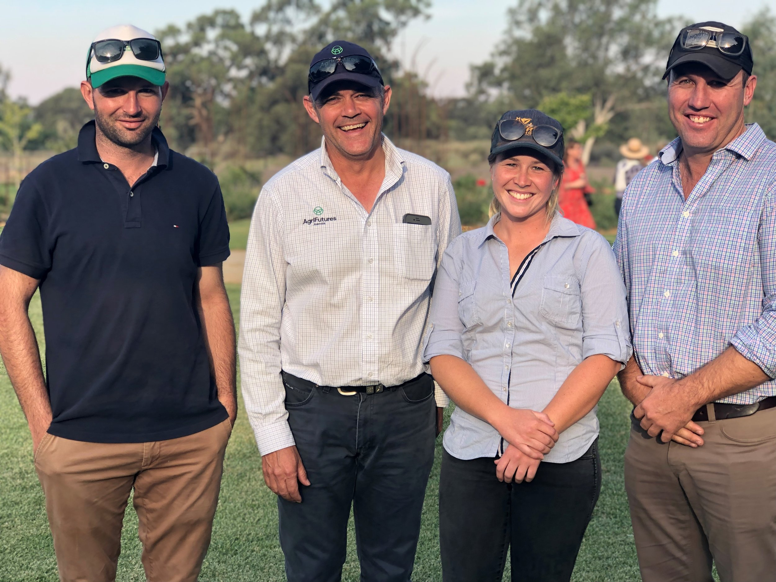 Antony Vagg, John Smith (AgriFutures, General Manager Research) Laura Kaylock and Drew Braithwaite (Chair of Rice Advisory Panel)