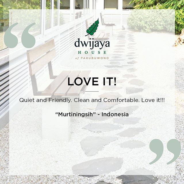 Did you know that if you call our Front Desk, you may get BETTER daily rates? Call us to confirm 📞✨ - Here's a review from our website testimonial database ✨ Thankyou Mrs.Murtiningsih for your kind review. We're keen to see you on your next visit ✨✨ . . www.dwijayahouse.com