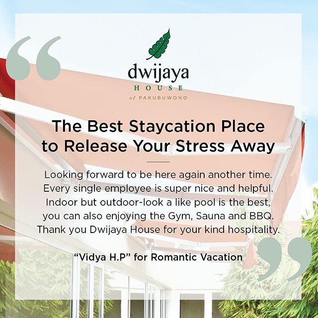 Find us on @traveloka ! 🙌🏻🙌🏻 - Yes, we're agree with Mrs.Vidya! Feel the serenity with a staycation at Dwijaya House of Pakubuwono. Thankyou so much for your warm review Mrs.Vidya H.P✨ We are excited to see you on your next visit✨✨ Dwijaya House of Pakubuwono is available on Traveloka. For more information please contact us, link is on bio 👆🏻👆🏻 . . www.dwijayahouse.com #jakarta #servicedapartments #leisure #clean #weekend #getaway #foodies #review #hospitality #fineliving #servicedresidence #Jakarta #jakartaselatan #noeditnofilter #liveofadventure #traveldeeper #adventuretravel #travel #travelingpost #tasteintravel #welltravelled #welivetoexplore #smile #happy #greeneyes #travel #vacay #vacation #dwijayahouse #traveloka #travelokadulu