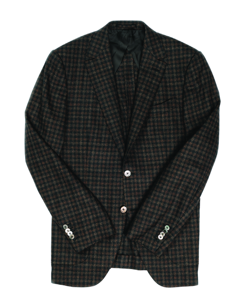 Check plaid sport-coat in black and brown   This color combo pairs with just about anything to create a look that can go from the office to a dinner party with ease. $3875.00